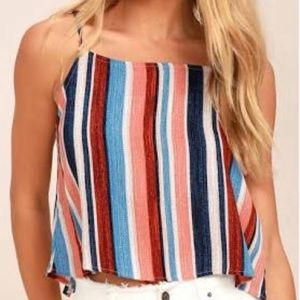 Lulu's Beyond The Sea Peach Stripe Crop Top